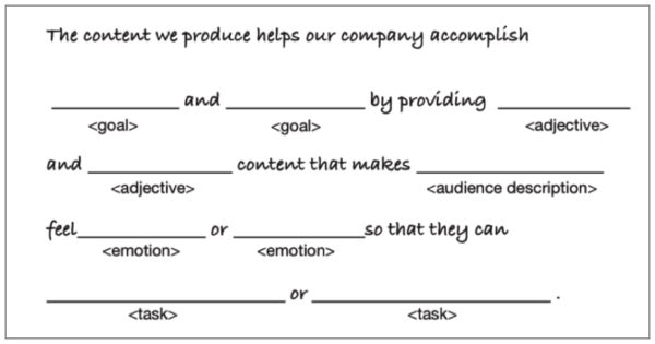 Core Content Strategy Statement Template