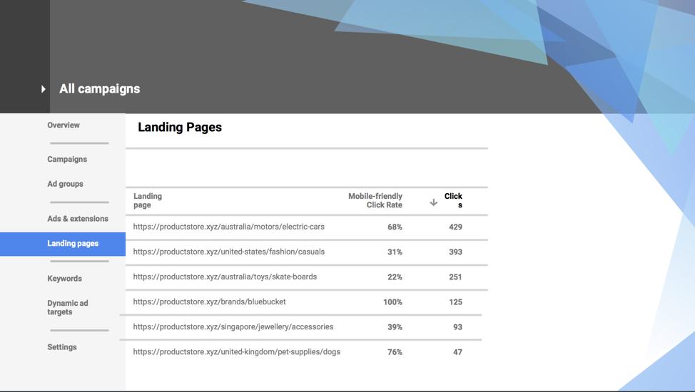 google-landing-page-report