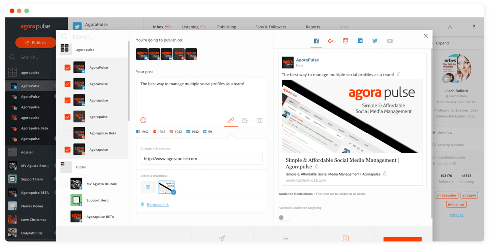 An image showing an AgoraPulse screenshot of auto post with queues feature.