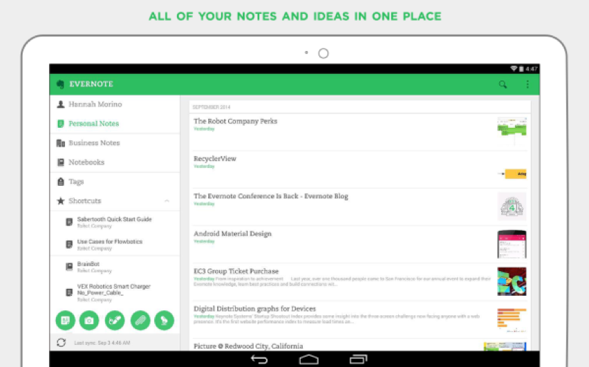 An image showing a screenshot of the Evernote tool.