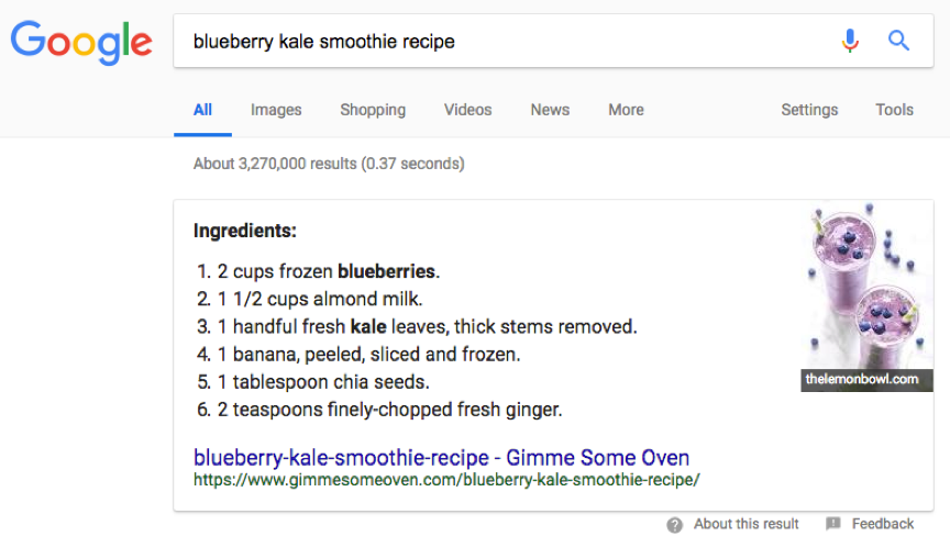 google-featured-snippet-recipes