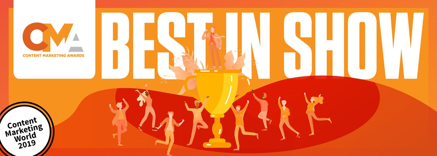 Clipart of people cheering the winner of the Content Marketing Awards, standing on a trophy beneath the caption Best in Show.