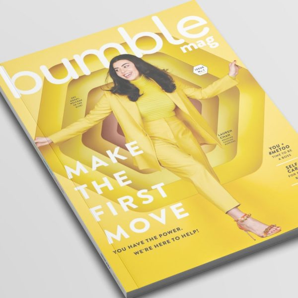 The first issue of Bumble mag on a grey table.