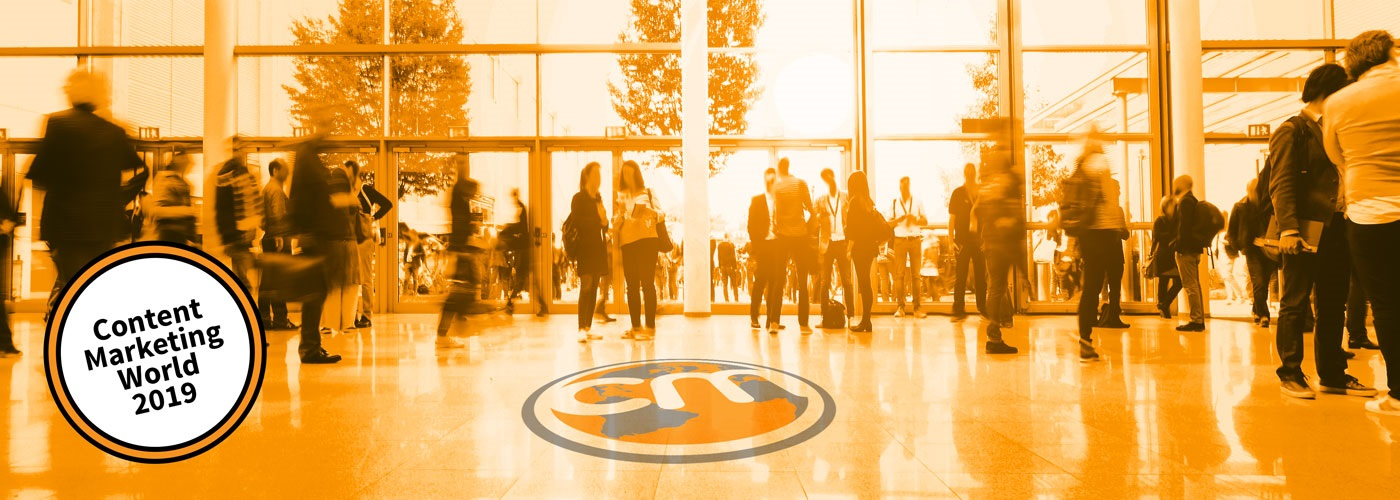 A crowd of attendees entering the Content Marketing World conference in Cleveland.