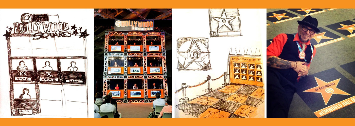 Collage of concept sketches for the Hollywood theme of Content Marketing World 2015 and Joseph Kalinowski with the finished sets.