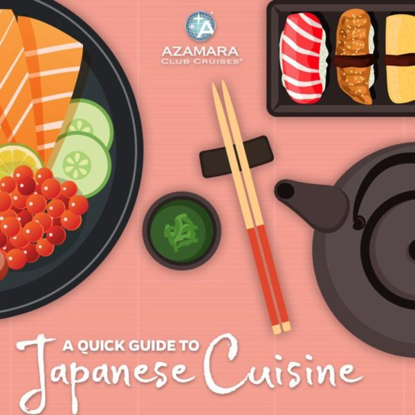 Detail from A Quick Guide to Japanese Cuisine infographic depicting Japanese food and chopsticks.