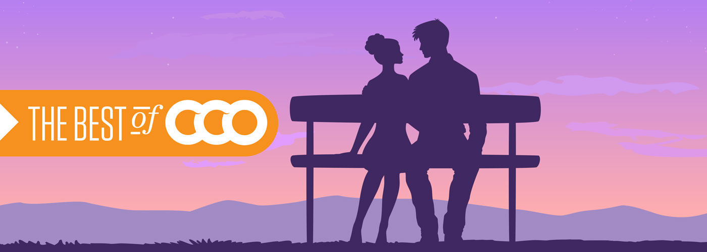 Illustration of a man and a woman on a bench in a romantic scene.