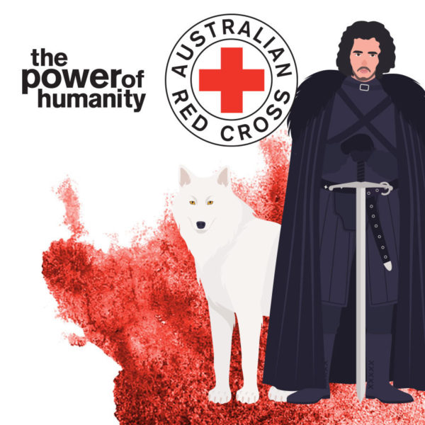 Red Cross branded illustration of Jon Snow from Game of Thrones with a direwolf.