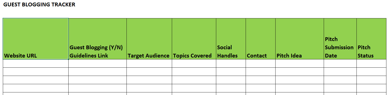 An image showing a template of a guest blogging tracker. The template shows columns for a website URL, guest blogging guidelines link, target audience, topics covered, social handles, contact, pitch ideas, pitch submission date, and pitch status.