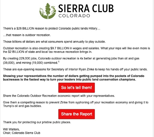 Screenshot of one of the Sierra Club emails from the drip campaign.