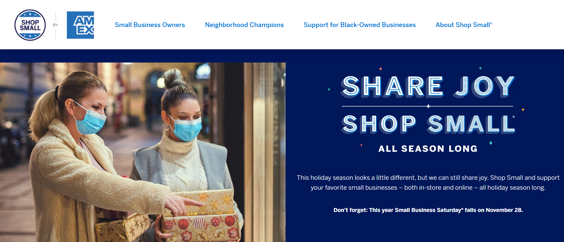 Image of American Express Shop Small landing page.