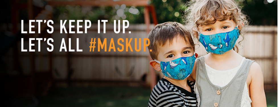 "mage from Cleveland Clinic showing two kids wearing masks and the slogan ""Let's Keep It Up. Let's All #MaskUp."