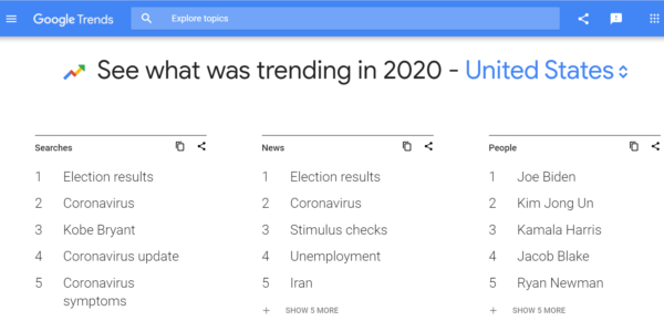Image showing Google's Year in Search results for searches, news, and people.