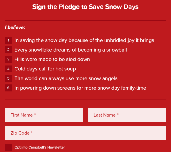 Image of Campbell's Soup online pledge to sign to save snow days.