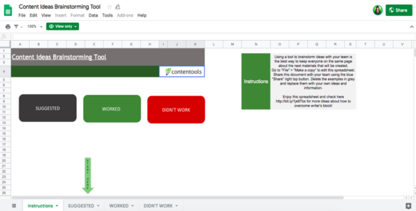 Image showing the downloadable spreadsheet for content brainstorming.