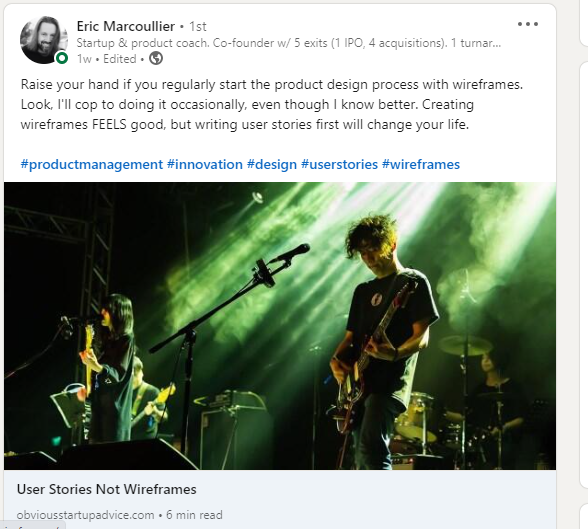 Image showing a blog post from Eric Marcoullier that he posted on LinkedIn. He also added a hot link to his Obvious Startup Advice blog.