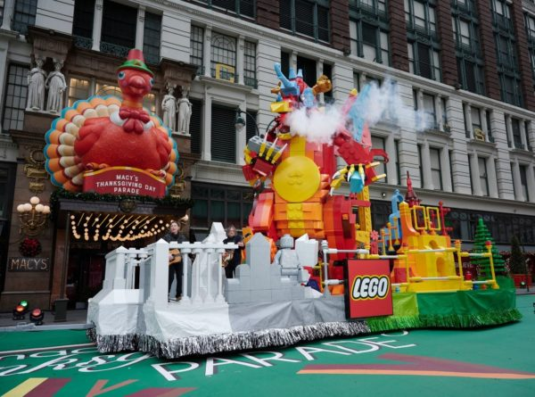 A photo showing the Lego float in the Macy's Thanksgiving Day Parade.