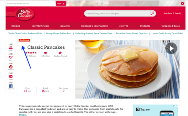 "Mockup of a strategic SEO change to help recipe content rank higher on the Betty Crocker website. The suggested fix is to add ""Our Recipe"" at the top of the page."