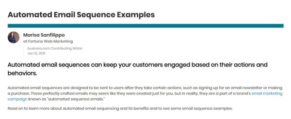 An image showing an email on automated email sequence examples from Business.com.