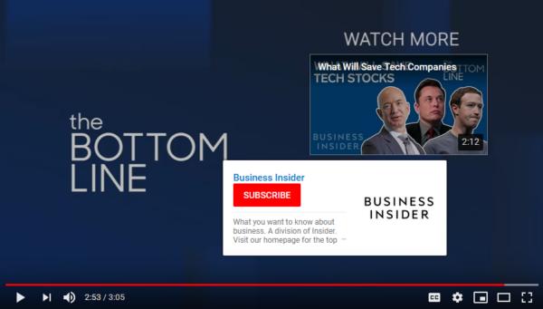 Una imagen del canal de YouTube de Business Insider que muestra un CTA.