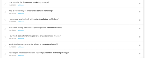 An image showing BuzzSumo questions and a snapshot of results for content marketing.