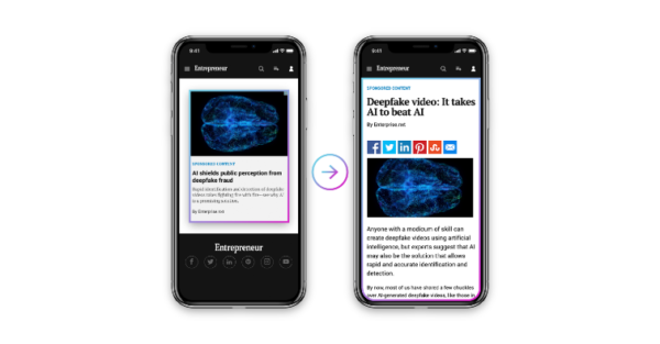 An image of two mobile devices. One showing a contextually relevant ad in the publisher's news feeds and the other showing the landing page that showcases the HPE infographic directly on the publisher's site.