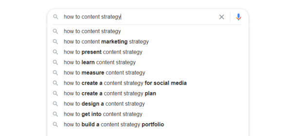 """An image showing a Google search for """"how to content strategy"""" and results from auto-populated suggestions."""
