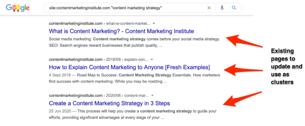 An image showing results from a simple content audit on Google.