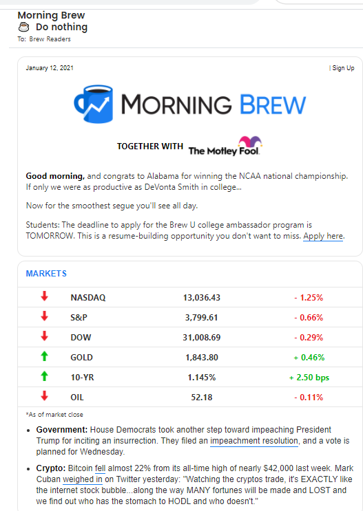 An image showing The Morning Brew e-newsletter from January 12, 2021.