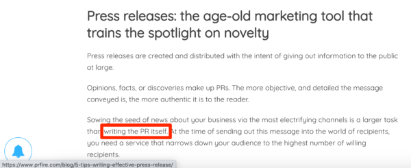An image showing an article that includes an internal link to another subtopic – newswires – from the public relations keyword that I highlighted in the box below.