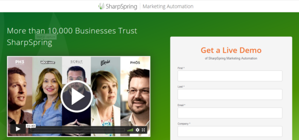 An image showing an example of a landing page from SharpSpring.
