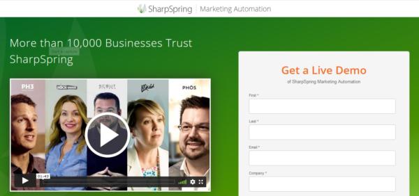 Una imagen que muestra un ejemplo de una página de destino de SharpSpring.