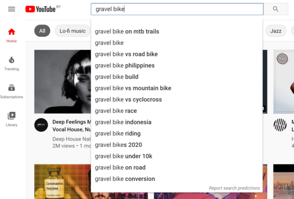 A screenshot of YouTube's autocomplete feature.