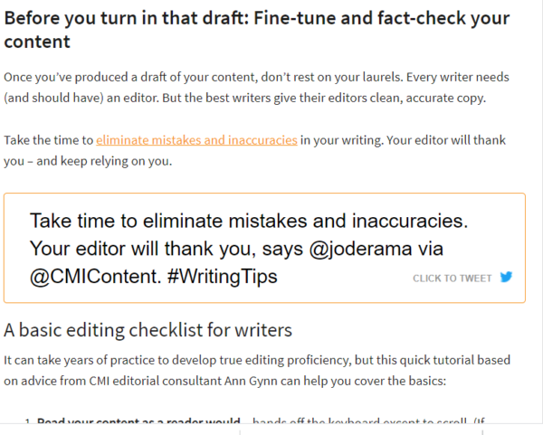 A screenshot of a click to tweet shown in a blog post.