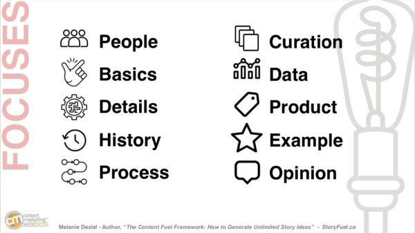 An image showing topic options for content focus: people, basics, details, history, process, curation, data, product, example, and opinion.
