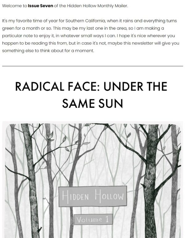 An image of the Radical Face monthly newsletter titled Hidden Hollow Volume 1.