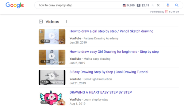 """An image showing Google video results for """"How to Draw Step by Step""""."""