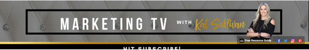 An image showing a banner from Marketing TV that uses links in the bottom right corner to social channels and its free resource guide.
