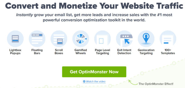 An image showing an excellent example of a compelling CTA. Get OptinMonster Now is short and to the point.