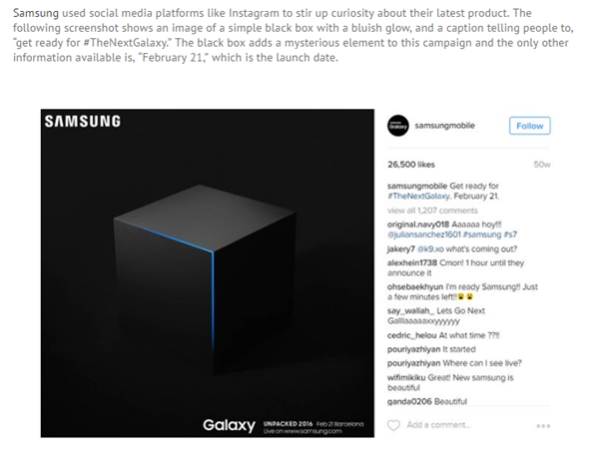 An image of an Instagram post from Samsung. The image shows a simple black box with a bluish glow, a caption telling people to get ready for the next Galaxy, and launch date.