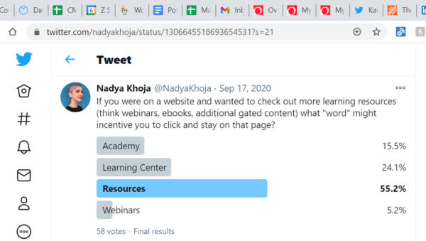 An image showing a Twitter Poll example for internal guidance on a product update.