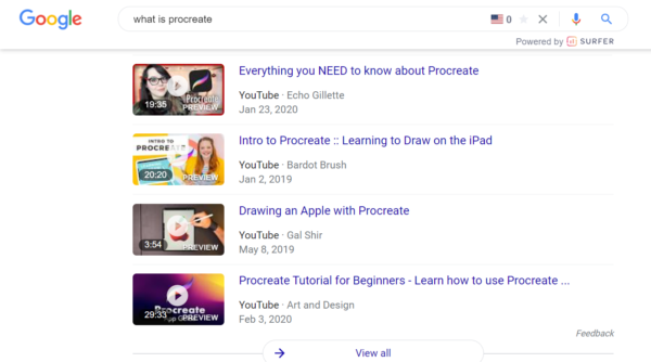 """An image showing Google video results for """"What is Procreate""""."""