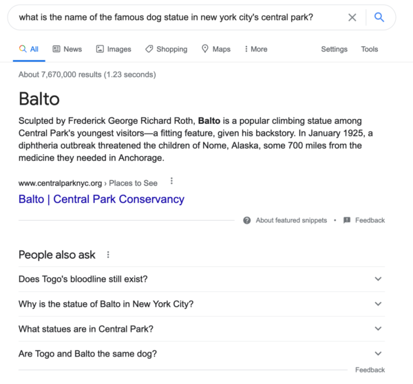"A screenshot showing search results for the question ""What is the name of the famous dog statue in New York city's Central Park?"""