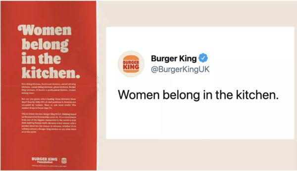 An image showing a Burger King UK tweet that reads Women belong in the kitchen.