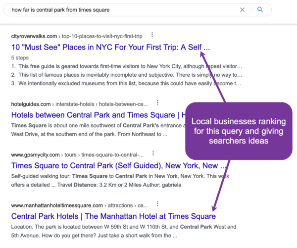 "A screenshot showing search results for the question ""How far is Central Park from Times Square?"""