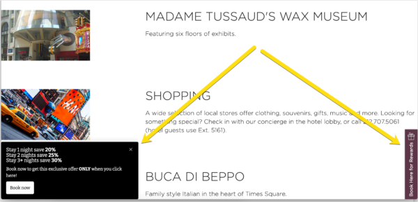 A screenshot showing an example of a CTA that's a promotional offer. One CTA is in a black box on the bottom left side of the site and the other is in a brown box on the right side of the site.