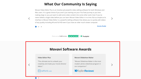A screenshot of Movavi's home page showing awards for their software.