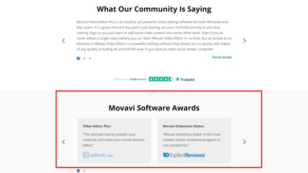 لقطة شاشة لصفحة Movavi الرئيسية تعرض جوائز لبرامجهم.