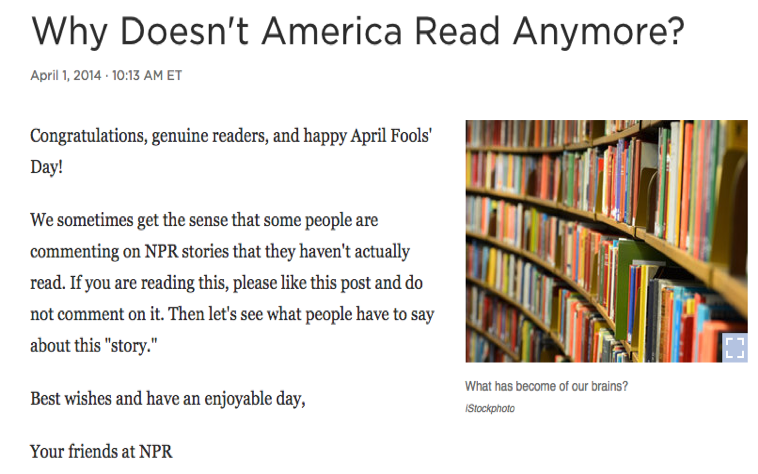 An image of NPR's landing page that reads: Congratulations, genuine readers, and happy April Fools' Day!