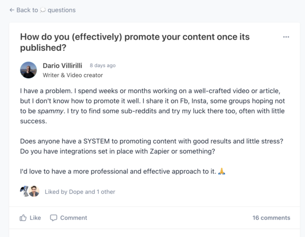 An image showing an example of a question posted in a community group: How do you effectively promote your content once it's published?